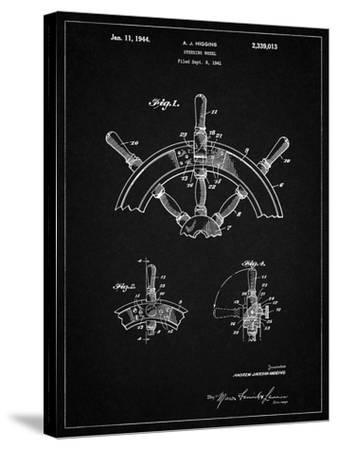 PP228-Vintage Black Ship Steering Wheel Patent Poster-Cole Borders-Stretched Canvas Print