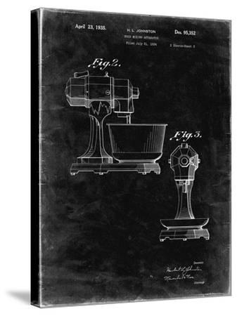 PP337-Black Grunge KitchenAid Mixer Patent Poster-Cole Borders-Stretched Canvas Print
