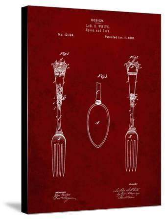 PP258-Burgundy Antique Spoon and Fork Patent Poster-Cole Borders-Stretched Canvas Print