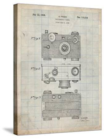 PP299-Antique Grid Parchment Argus C Camera Patent Poster-Cole Borders-Stretched Canvas Print