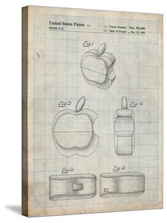 PP260-Antique Grid Parchment Apple Logo Flip Phone Patent Poster-Cole Borders-Stretched Canvas Print