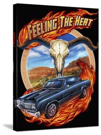Hot Rod Steer Skull Illustration-FlyLand Designs-Stretched Canvas Print