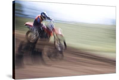 USA, California, Mammoth Lakes. Blur of motocross racer.-Jaynes Gallery-Stretched Canvas Print