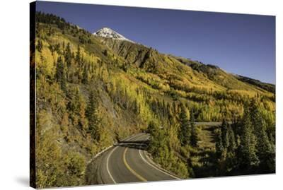 Autumn, aspen trees and Million Dollar Highway, Crystal Lake, Ouray, Colorado-Adam Jones-Stretched Canvas Print