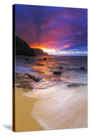 Sunset over the Na Pali Coast from Hideaways Beach, Princeville, Kauai, Hawaii, USA-Russ Bishop-Stretched Canvas Print