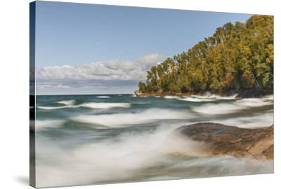 Waves on Lake Superior in fall, Pictured Rocks National Lakeshore, Michigan.-Adam Jones-Stretched Canvas Print