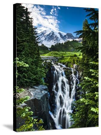 USA, Washington State, Mount Rainier National Park, Mount Rainier, waterfall-George Theodore-Stretched Canvas Print