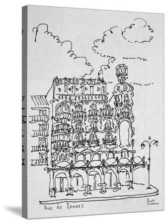 Traditional Haussmann building on Rue de Rennes, Paris, France-Richard Lawrence-Stretched Canvas Print