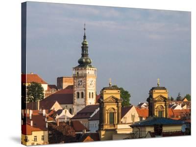 Czech Republic, Mikulov. The church Tower of St. Wenceslas-Julie Eggers-Stretched Canvas Print