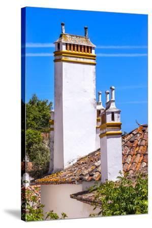 Towers of building in a Medieval Town, Obidos, Portugal-William Perry-Stretched Canvas Print