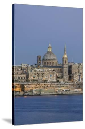 Malta, Valletta, historic skyline at Dusk-Rob Tilley-Stretched Canvas Print