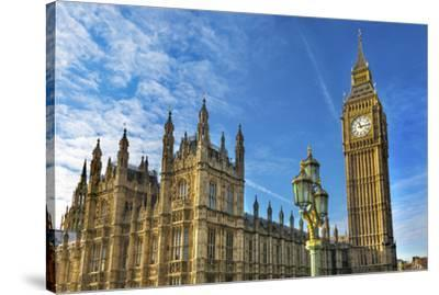 Big Ben, Parliament, and Lamp Post, Westminster, London, England.-William Perry-Stretched Canvas Print