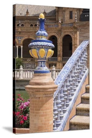 Spain, Andalusia, Seville. Plaza de Espana, ornate bridge.-Brenda Tharp-Stretched Canvas Print