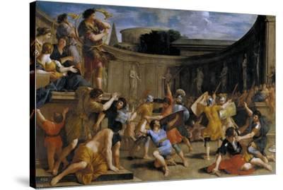Gladiadores romanos, 1635-1639-Giovanni Francesco Romanelli-Stretched Canvas Print