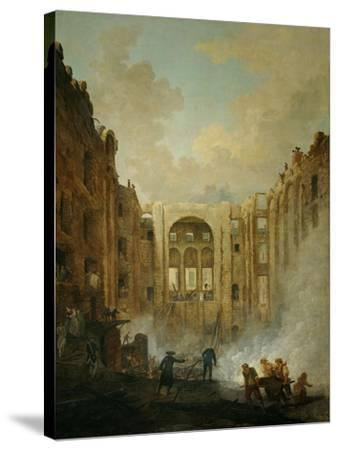 The fire at the operahouse in the Palais Royal,1781-Hubert Robert-Stretched Canvas Print