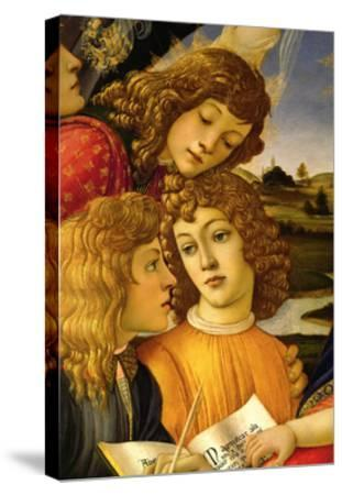 Four angels. Detail from the Coronation of the Madonna and Child (Madonna of the Magnificat).-Sandro Botticelli-Stretched Canvas Print