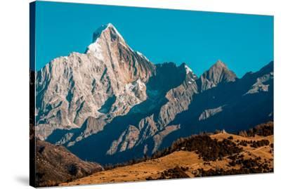 Early morning light on Mount Siguniang on the Tibetan Plateau.-Ben Horton-Stretched Canvas Print