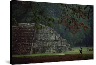 Mayan pyramidal tomb showing silhouetted Pancho the monkey who lives at the site.-Kenneth Garrett-Stretched Canvas Print
