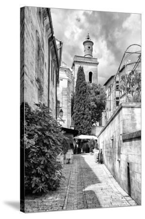 France Provence B&W Collection - Street Scene III - Uzès-Philippe Hugonnard-Stretched Canvas Print