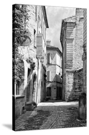 France Provence B&W Collection - Typical Street Scene IV - Uzès-Philippe Hugonnard-Stretched Canvas Print