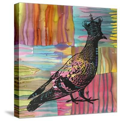 King Of The Free World, Birds, Pets, Pigeon, Crown, Pop Art, Watercolor, Stencils, Drips, Strut-Russo Dean-Stretched Canvas Print