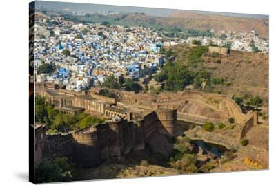 India, Rajasthan, Jodhpur. Mehrangarh Fort, view from tower of old city wall and houses beyond pain-Alison Jones-Stretched Canvas Print