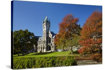 Clock Tower, Registry Building, University of Otago in Autumn, Dunedin, South Island, New Zealand-David Wall-Stretched Canvas Print