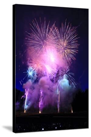 Summer evening spectacular fireworks show-Stuart Westmorland-Stretched Canvas Print