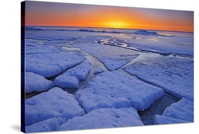 Canada, Manitoba, Winnipeg. Sunrise on Lake Winnipeg spring ice.-Jaynes Gallery-Stretched Canvas Print