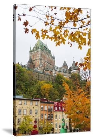 View of Chateau Frontenac from Quartier du Petit-Champlain, Vieux-Quebec, the only Walled City in N-Stuart Westmorland-Stretched Canvas Print