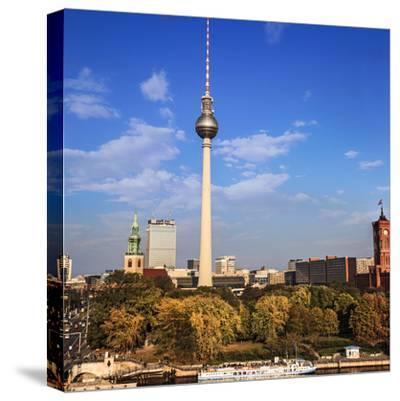 Berlin, Germany. Fernsehturm TV Tower at Alexanderplatz-Miva Stock-Stretched Canvas Print
