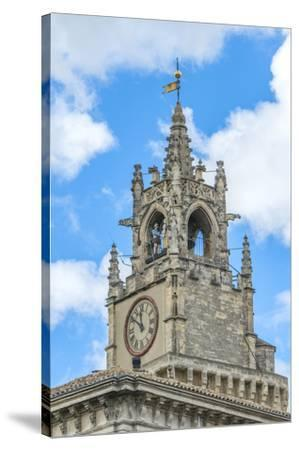 Clock tower of town hall, Avignon, France-Jim Engelbrecht-Stretched Canvas Print