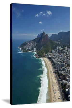 Ipanema Beach, Morro Dois Irmaos, and Vidigal Favela (top), Rio de Janeiro, Brazil-David Wall-Stretched Canvas Print