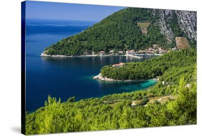 The village of Trstenik on the Peljesac Peninsula above the Adriatic Sea, Dalmatia, Croatia-Russ Bishop-Stretched Canvas Print