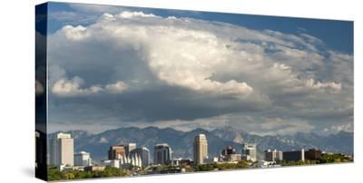Salt Lake City below the Wasatch Mountain Range, Utah.-Howie Garber-Stretched Canvas Print