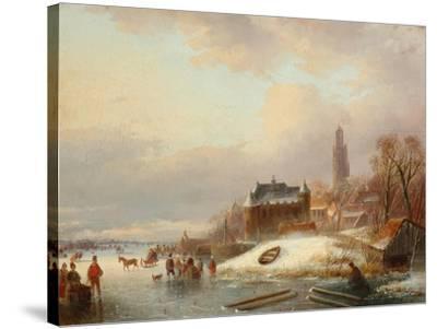 Snow Scene in Holland-Franz Xaver Winterhalter-Stretched Canvas Print