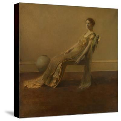 GREEN AND Gold, by Thomas Wilmer Dewing, 1917, American Painting, Oil on Canvas. A Slouching Elegan--Stretched Canvas Print