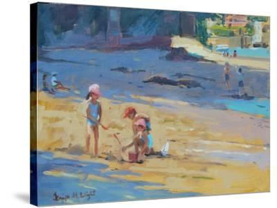 Salcombe Beach, Children-Jennifer Wright-Stretched Canvas Print