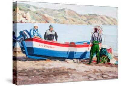 Fishermen at Nerja, Spain-Anthony Fandino-Stretched Canvas Print