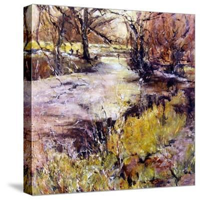 Fishing in Wolfscote dale-Mary Smith-Stretched Canvas Print