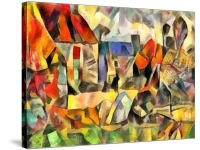 autumn courtyard(version I,2017-Alex Caminker-Stretched Canvas Print