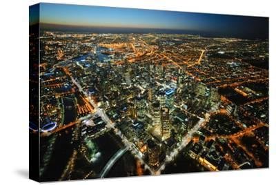 aerial view of Melbourne, cityscape and rooftops, Australia-John Gollings-Stretched Canvas Print