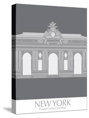 New York Grand Central Monochrome-Fab Funky-Stretched Canvas Print