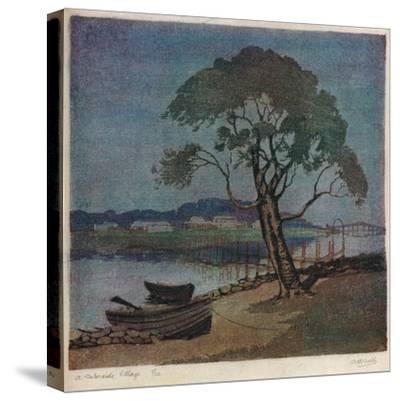 'A Waterside Village', c1921-Archibald Bertram Webb-Stretched Canvas Print