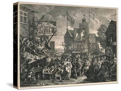 'Southwark Fair', 1733-William Hogarth-Stretched Canvas Print