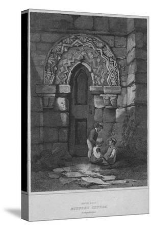 'South Door - Mitford Church, Northumberland', 1814-John Greig-Stretched Canvas Print