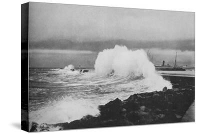 'Breakwater, Colombo, During S.-W. Monsoon', c1890 (1910)-Alfred William Amandus Plate-Stretched Canvas Print