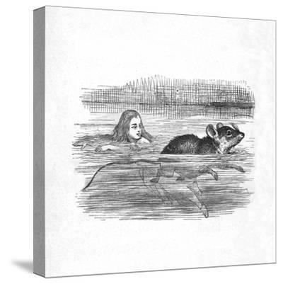 'Alice swimming with a mouse in a pool', 1889-John Tenniel-Stretched Canvas Print