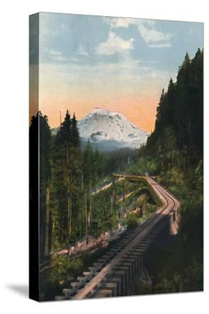 'Mount Rainier from the C. M. & P. S. R. R.', c1916-Asahel Curtis-Stretched Canvas Print