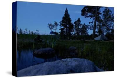 Wild camping site by night, Stora Le Lake, Dalsland, Götaland, Sweden-Andrea Lang-Stretched Canvas Print